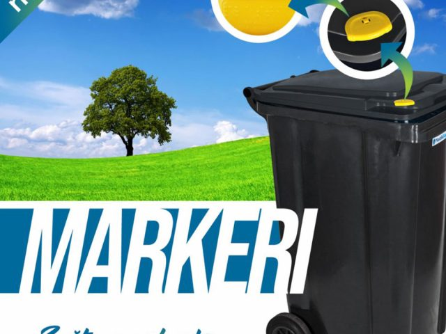 Markers for plastic bins with 2 wheels